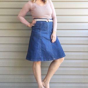 Vintage LLBean midi a-line denim skirt size 6